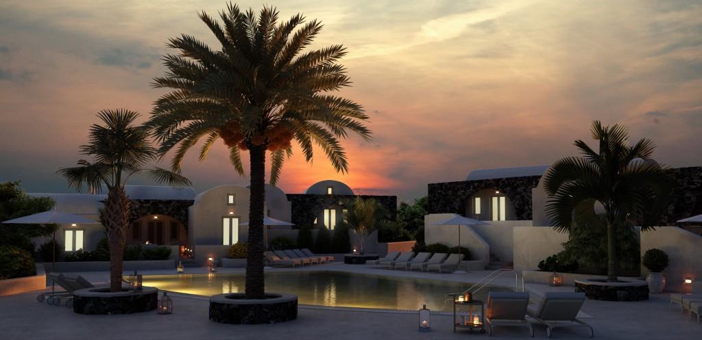 Das Santo Maris Oia Luxury Suites & Spa eröffnet im April 2016. Zum Hotelbereich gehört eine kleine Kirche namens Santo Giorgio und Santa Maria Soumela, die für Trauungen mit angemietet werden kann. Foto: Santo-Maris-Oia
