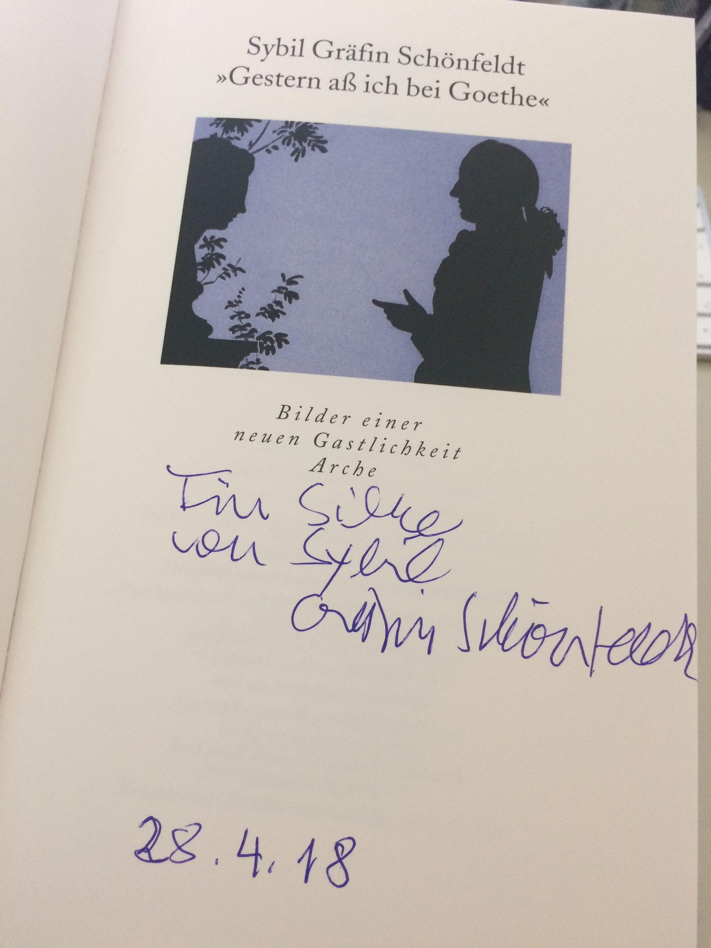 Gestern aß ich bei Goethe von Sybil Gräfin Schönfeldt